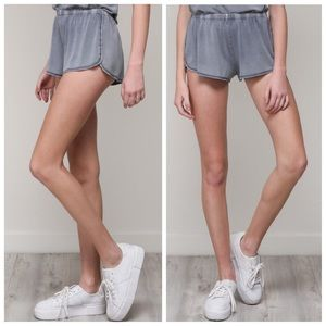 Ash blue vintage style shorts